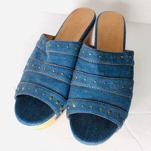 Shoes - New Denim Studd Clog Sandals Size 10